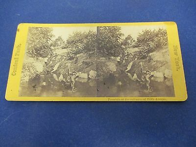 Antique Stereoview Card Central Park New York Fountain At Entrance of Fifth Ave