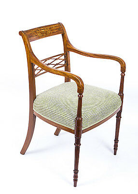 Antique Sheraton Revival Satinwood Armchair c.1880