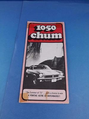 1050 Chum Radio Station Toronto Canada Program Top 30 Songs July 1973 Win Car