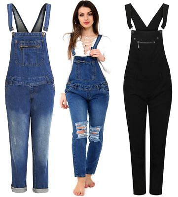 Womens Pouch Pocket Detail Mid Wash Blue Denim Jeans Playsuit Dungaree Trousers