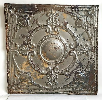 "1890's 24"" x 24"" Antique Reclaimed Tin Ceiling Tile Silver Metal Anniversary B80"