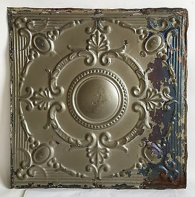 """1890's 24"""" x 24"""" Antique Reclaimed Tin Ceiling Tile Silver Metal Anniversary B82"""