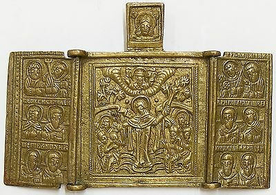 Old Antique Russian Icon of JOY OF ALL WHO SUFFER with Selected Saints, 19th c