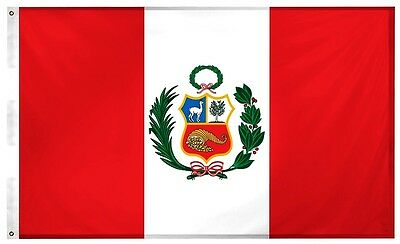 Peru Peruvian 3' x 5' Flag w/ Sleeve for Pole Pride Country Soccer Banner