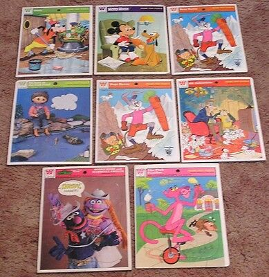 Vintage LOT EIGHT Whitman Tray Jigsaw Puzzles Disney Warner Bugs Mickey Goofy