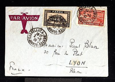 11989-FRENCH MOROCCO-AIRMAIL COVER CASABLANCA to LYON(france)1937.WWII.Marruecos