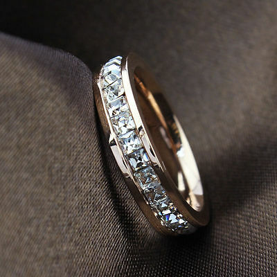 Silver/Rose Gold CZ Titanium Steel Ring Men/Womens Stainless Wedding Band Sz3-10