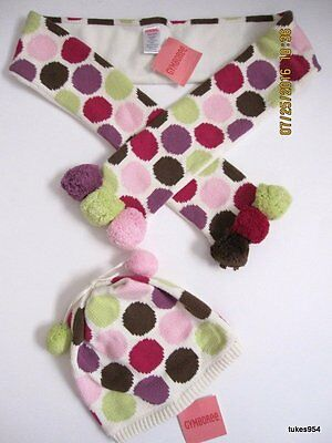Gymboree Dots of Fun Pom Pom Scarf Hat Pink Green Purple  8-9-10-12 NWT New