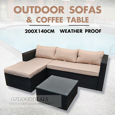 NEW 3PCS Outdoor Waterproof Sofa Setting Coffee Table Wicker Rattan Set Lounge