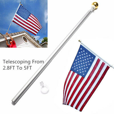Aluminum 5FT Silver Brushed Telescopic Flag Pole Flagpole Kit For Valley Forge