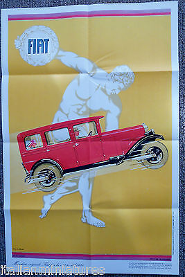 Fiat 525 1928 Art Deco Poster Produced in 1969 With Italian Car Production