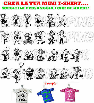 mini t-shirt AUTO PERSONALIZZATA BIMBO BIMBA A BORDO GRUCCIA ventosa ON BOARD