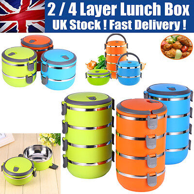 2/4 Layer Stainless Steel Thermal Insulated Lunch Box Bento Food Container Round