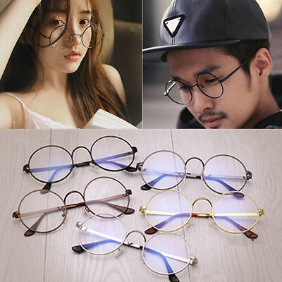 New Nerd Spectacles Unisex Metal Frame Classic Clear Round Lens Glasses Eyeglass