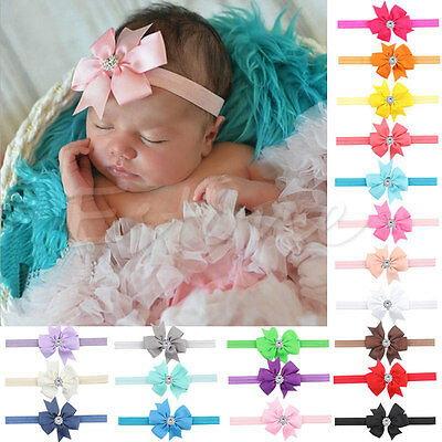 10X Newborn Baby Gir Bow Hair Band  Headband Infant Toddler Girls Accessories