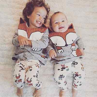 Infant Fox Baby Boy Girl Toddler Kids Casual Long Sleeve Tops Tee T-Shirt Outfit