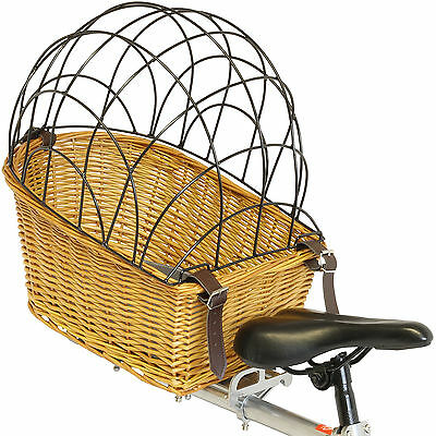 Vintage Wicker Rear Bicycle/Bike/Cycle Pet Carrier Basket Dog/Puppy Travel Cage