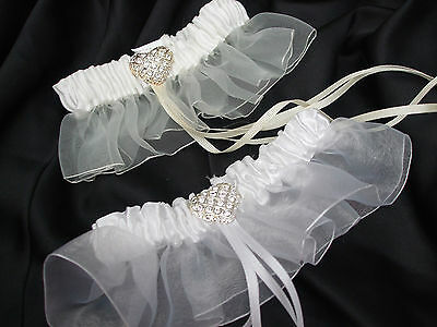 Bridal Wedding Garter with Diamante Heart Detail ~ White / Ivory