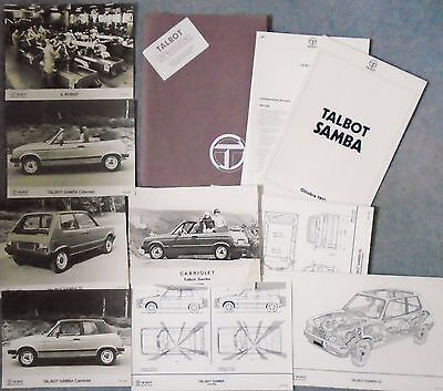 Talbot Samba Cabriolet Very Large Press Pack 1981 Photograph x 9 Italian