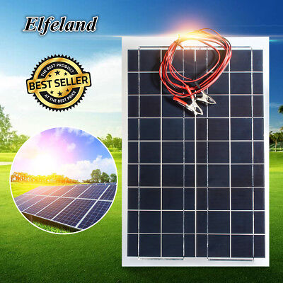 Elfeland 30W 12V Semi Flexible Solar Panel Battery Charger Alligator Clip For RV