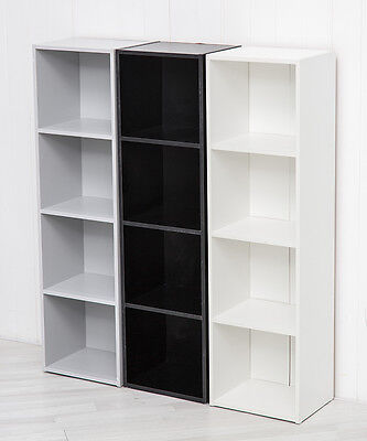 Grey Black White Four Tier Wooden Bookcase Storage Cube Stacking Shelving Displa