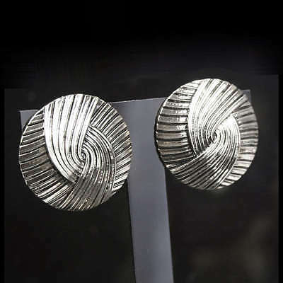 BIG CIRCLE art deco lines CLIP ON EARRINGS VINTAGE SILVER ANTIQUE PLATED clips