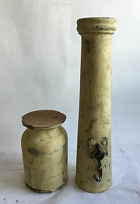 Two(2) Large RECLAIMED Wood SHABBY Candle Stand Yellow Balusters Vintage V3