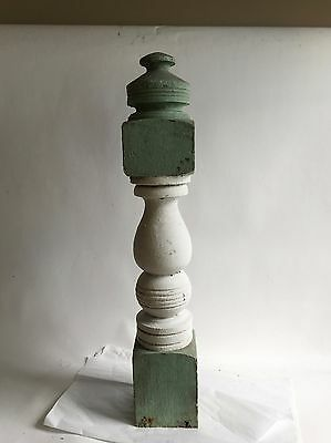 Antique 1890's Wood Victorian Shabby Porch Newel Post Green White Architectural