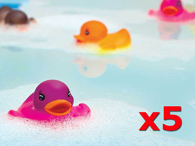 5 Rubber Colour Changing Ducks Fun Kids Bath Squeaky Toy New Baby Duck Time Heat