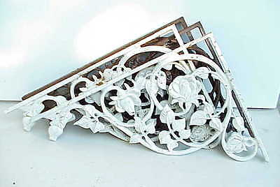 Antique Architecture Cast Iron Door Decor Archway Trim / Shelf Brackets w Roses