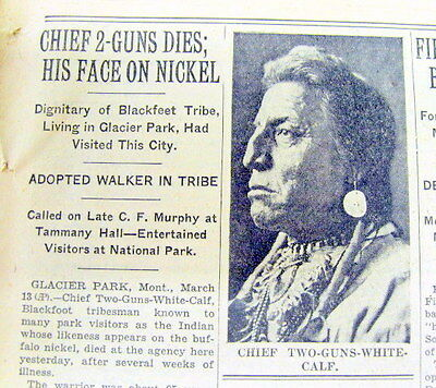 1934 NY newspaper Numismatics DEATH of model 4 US INDIAN HEAD NICKEL 5 cent coin