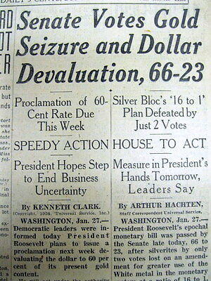 2 1934 newspapers NUMISMATICS Government votes private OWNERSHIP of GOLD ILLEGAL