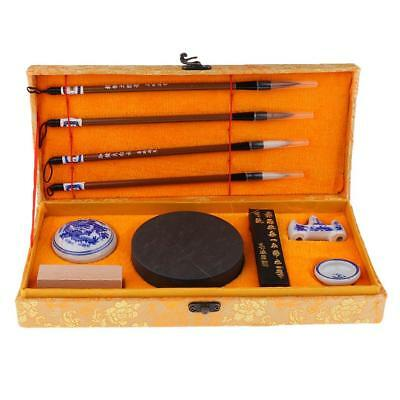 Set of Calligraphy Tools Writing Brushes & Ink Stone in Great Gift Box