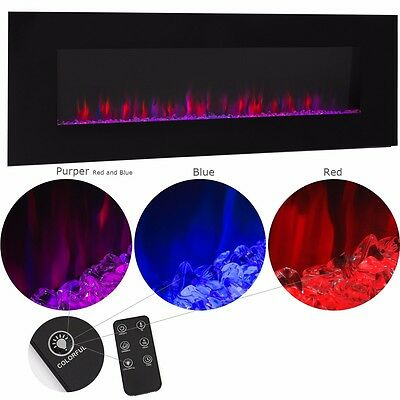 """50""""  1500W Adjustable Heat Electric Wall Mount Fireplace Heater 110v"""