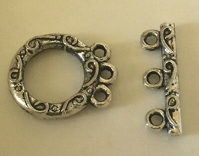 Tibetan Silver 3-Strand Twisted Toggle Clasp for Multi Strand     (NEW)