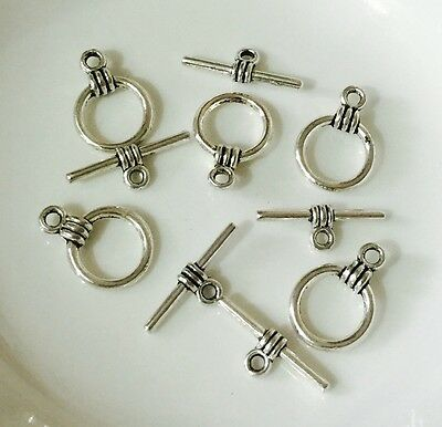 10x Silver Tone Ring Bar Toggle Clasp Set - 15x11mm   (NEW)
