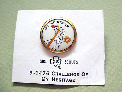 Girl Scout Pin Challenge of MY HERITAGE Cad.& Sr. NEW on Card 1972 RARE Combine