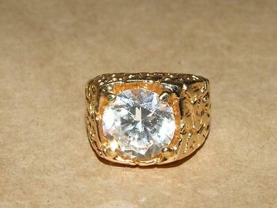 Vtg 18k GE GOLD PLATED Nugget Style Brilliant Cut Glass Mens Ring 29.8 gr sz 10
