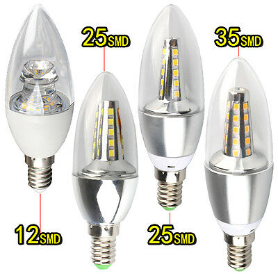 6/12× 7W 9W E14 SMD Chandelier Light Dimmable Nondimmable Candle Bulb LED Lamp