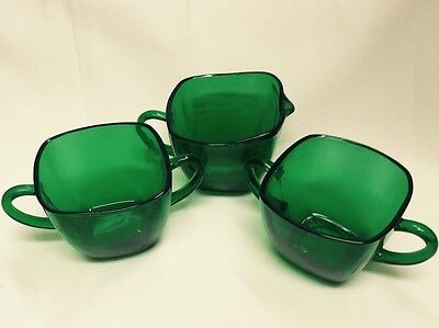 Anchor Hocking Depression Forest Green 3 Piece Lot Charm Mint Sugars Creamer