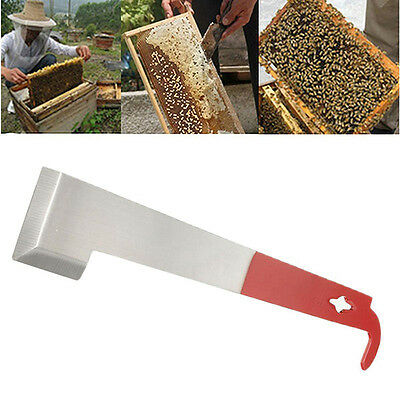 Beekeeping Tool J Shape Red Curved Tail Bee Hive Stainless Steel Scraper 1pc