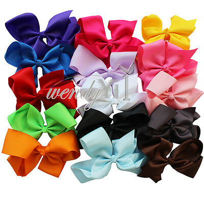15Pcs 6'' Big Hair Bows Boutique Girls Alligator Clip Grosgrain Ribbon accessory