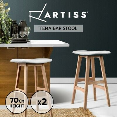 2x Oak Wood Bar Stools Wooden Barstool Dining Chairs Kitchen Plywood White 3629