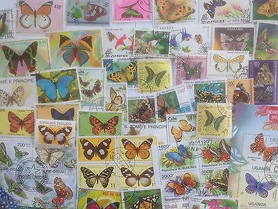 200 Different Butterflies/Moths on Stamps Collection