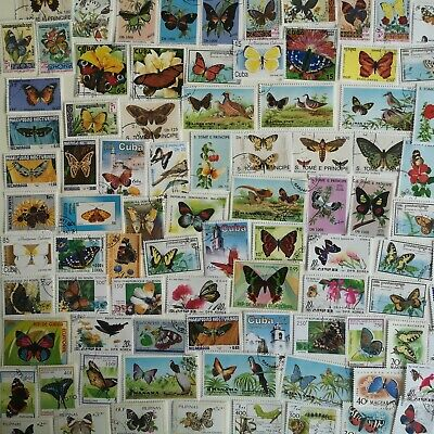 300 Different Butterflies/Moths on Stamps Collection