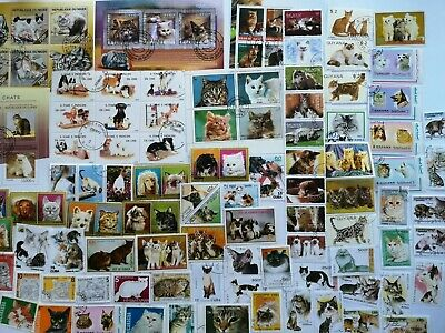 300 Different Cats Domestic and Wild on Stamps Collection