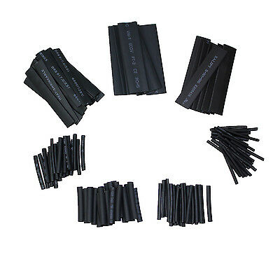 127pc BLACK Heat Shrink Tube Assorted Cable Wire Wrap Electric Insulation Sleeve