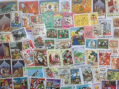 100 Different Fairy Tales on Stamps Collection