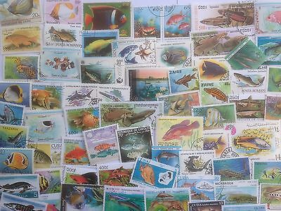 300 Different Fish/Sea Life on Stamps Collection