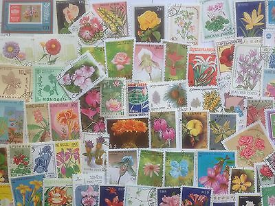200 Different Flowers/Flora on Stamps Collection